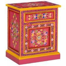 Bedside Cabinet Solid Mango Wood Pink Hand Painted