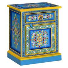 Bedside Cabinet Solid Mango Wood Turquoise Hand Painted