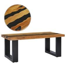Coffee Table 100x50x40 cm Solid Teak Wood and Lava Stone