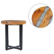 Coffee Table 40x45 cm Solid Teak Wood and Polyresin