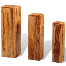3 Piece Plant Stands Solid Sheesham Wood Brown
