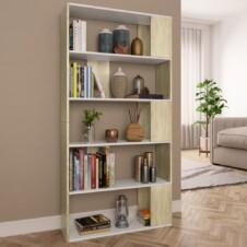 Book Cabinet/Room Divider White and Sonoma Oak 80x24x159 cm Chipboard