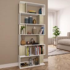 Book Cabinet/Room Divider White and Sonoma Oak 80x24x192 cm Chipboard