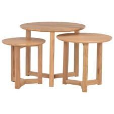 Coffee Tables Nest Of 3 pcs Solid Oak Wood
