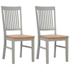 Dining Chairs 2 pcs Grey 44x59x95 cm Solid Oak Wood