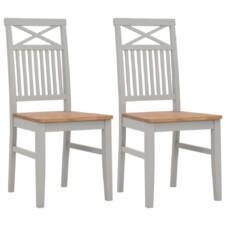 Dining Chairs 2 pcs Grey 44x59x96 cm Solid Oak Wood