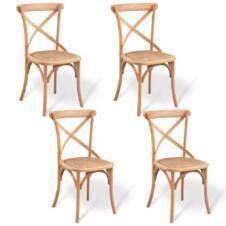 Dining Chairs 4 pcs 48x45x90 cm Solid Oak Wood
