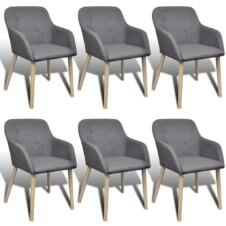 Dining Chairs 6 pcs with Oak Frame Fabric
