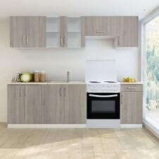 Kitchen Cabinet Unit 7 Pieces with Freestanding Oven Oak Look