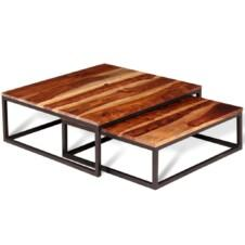 Two Piece Nesting Coffee Table Set Solid Sheesham Wood