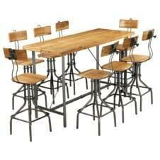 Bar Set 9 Pieces Solid Reclaimed Teak