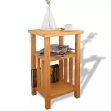End Table with Magazine Shelf 27x35x55 cm Solid Oak Wood