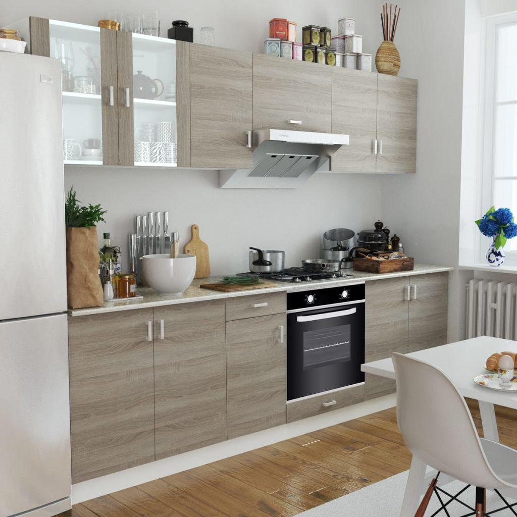 Kitchen Cabinet Unit with Built-in Oven 6 Functions Oak Look