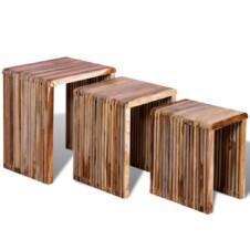 Nesting Table Set 3 Pieces Reclaimed Teak