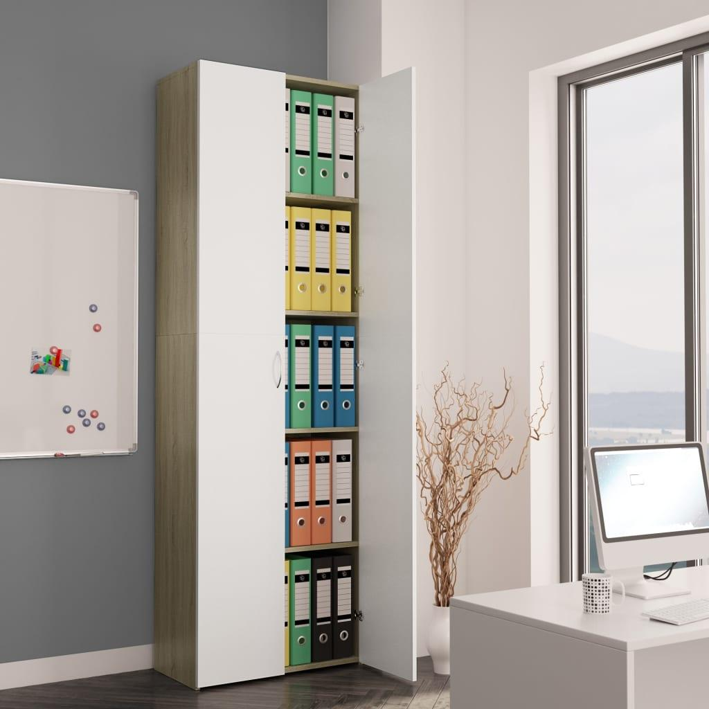 Office Cabinet White and Sonoma Oak 60x32x190 cm Chipboard
