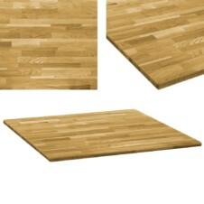 Table Top Solid Oak Wood Square 23 mm 80x80 cm