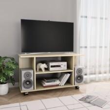 TV Cabinet with Castors Sonoma Oak 80x40x40 cm Chipboard