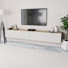 TV Cabinets 2 pcs Chipboard 120x40x34 cm High Gloss White Oak