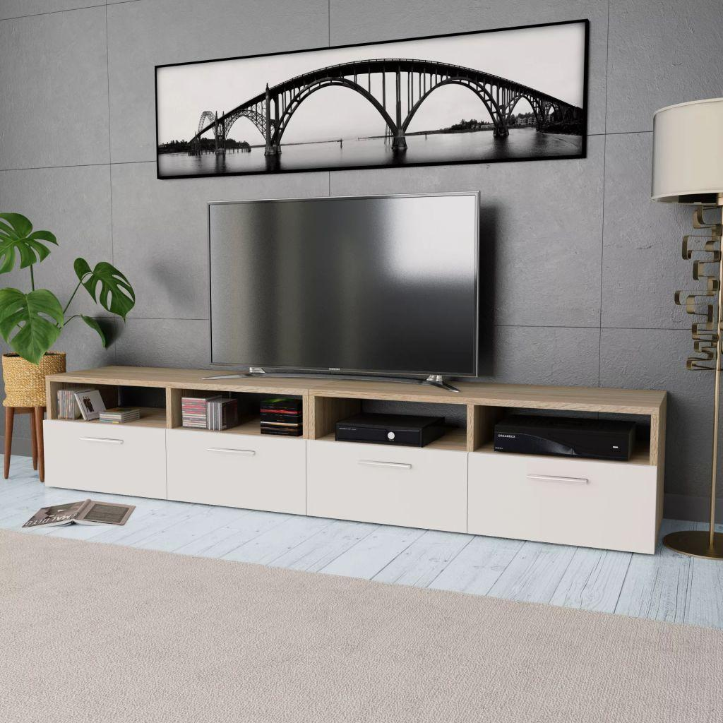 TV Cabinets 2 pcs Chipboard 95x35x36 cm Oak and White