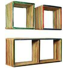 Wall Shelf Set 3 Pieces Solid Reclaimed Teak Multicolour