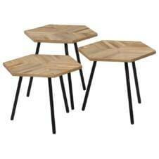 3 Piece Coffee Table Set Reclaimed Teak Hexagonal