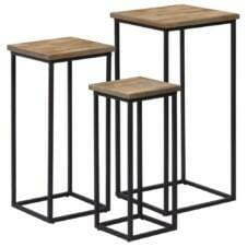 3 Piece Plant Table Set Reclaimed Teak
