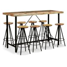 Bar Set 9 Pieces Solid Reclaimed Wood