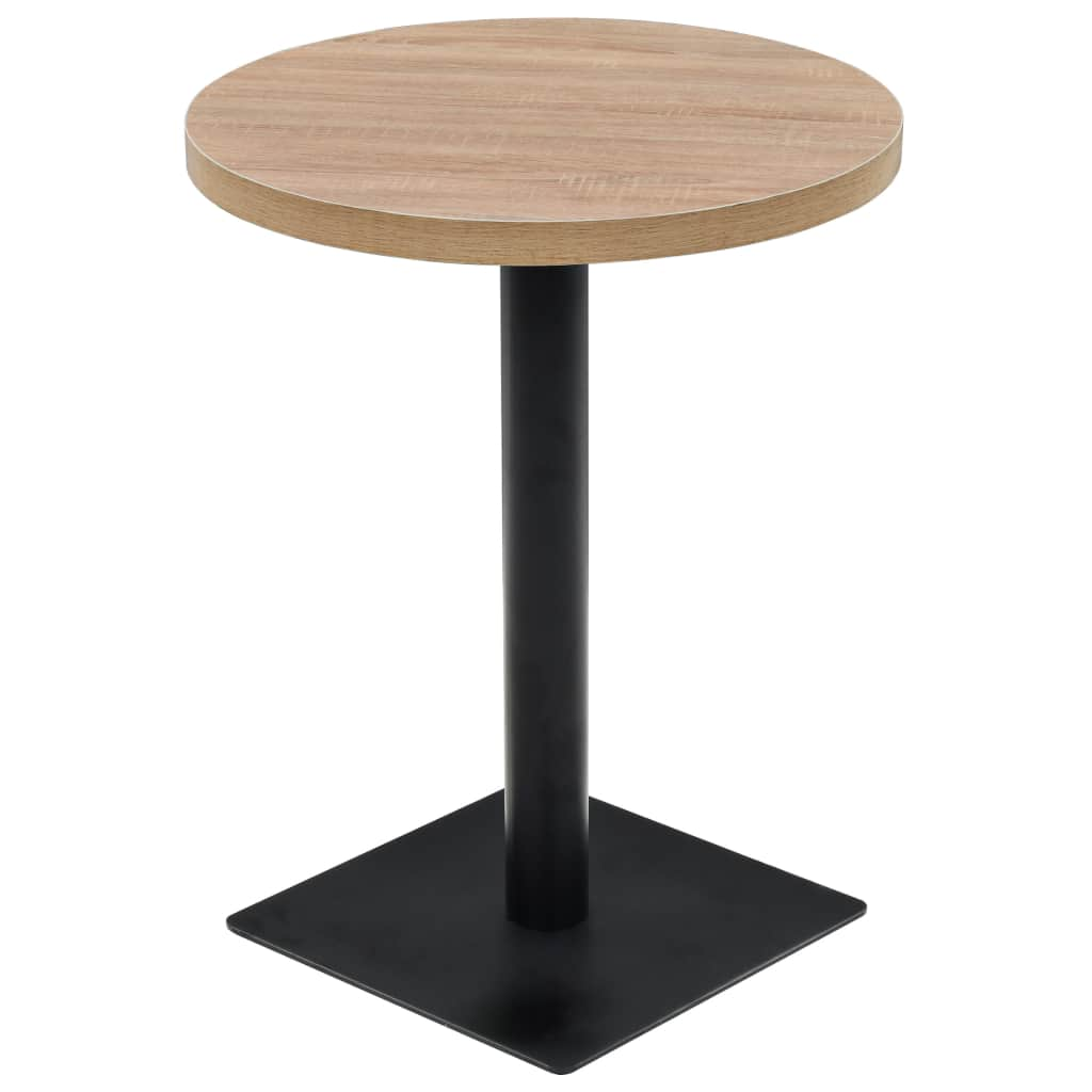 Bistro Table MDF and Steel Round 60x75 cm Oak Colour
