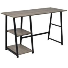 Desk with 2 Shelves Grey and Oak