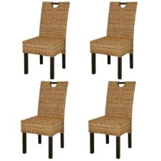 Dining Chair 4 pcs Kubu Rattan Mango Wood