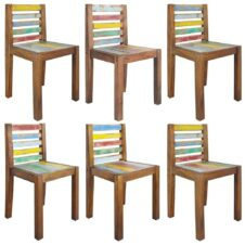 Dining Chairs 6 pcs Solid Reclaimed Boat Wood 45x45x85 cm