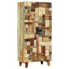 Hand Carved Highboard 85x45x180 cm Solid Reclaimed Wood