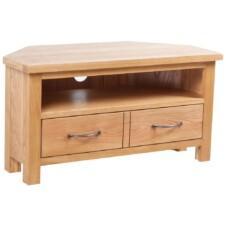 Oak Corner TV Unit 2 Drawers Solid Wood 88cm