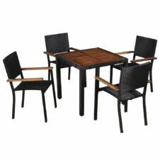 5 Piece Outdoor Dining Set Poly Rattan and Acacia Wood Black