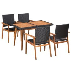 4 Seater Garden Dining Set Poly Rattan Black and Brown