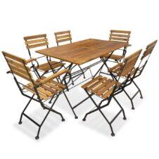 6 Seat Folding Garden Dining Set Solid Acacia Wood & Metal