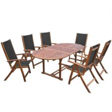 6 Seater Oval Garden Dining Table Set Solid Acacia Wood