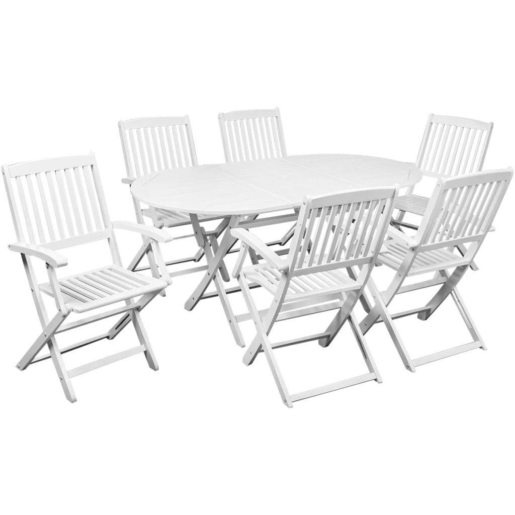 Outdoor Oval Dining Set 7 Piece Solid Acacia Wood White