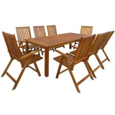 Acacia Wood 9 Piece Outdoor Dining Set